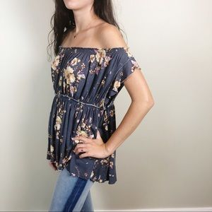 We the Free Floral Off the Shoulder Knit Top